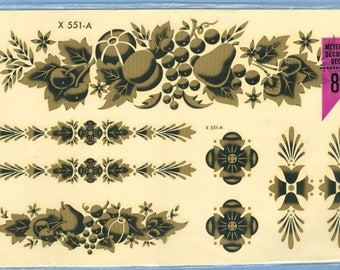 1960s/70s Gold Fruit Decal, Pear Grapes Flowers NIP Transfer - Vintage Meyercord Decal X 551-A