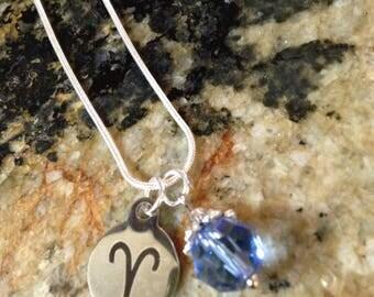 Zodiac Birthstone Necklace - Aries/March