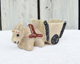 Vintage Grand Canyon Donkey and Cart Tourist Gift, Vintage Gift Shop Gift, Burro pulling a cart, Desk organizer, succulent planter, gift