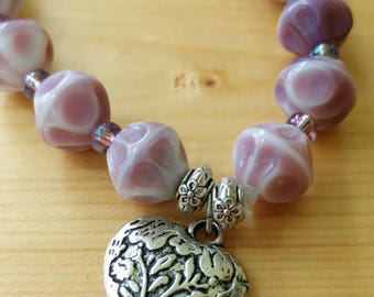Purple Stretchy Beaded Bracelet with Silver Heart Charm