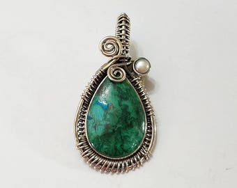 Chrysocolla, Cultured Pearl, Sterling Silver Pendant, .925 Sterling Silver, Necklace, Focal, Beading, Jewelry, Supplies, Supply
