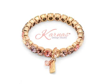 PEACH COBBLER 8mm Stretch Bracelet Made With Swarovski Crystal *Pick Your Finish *Karnas Design Studio *Free Shipping