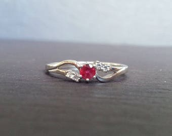 Floral Ruby Engagement Ring, White Gold Diamond Ruby Wedding Band, Art Deco Style Engagement