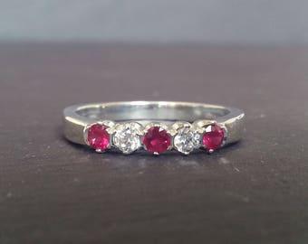 Ruby & Diamond Half Eternity Ring