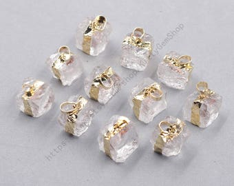 Raw Square Clear Quartz Pendants -- Wholesale gemstone charm finding accessory YHA-338