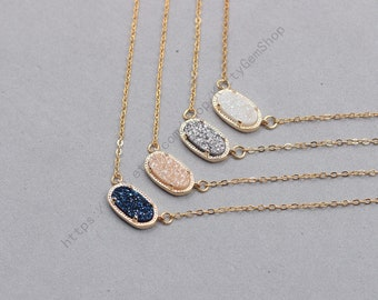 Druzy Necklaces -- Druzzy Choker Electroplated Gold Edge Drusy Jewelry Geode Bridesmaid Gift Necklaces dainty YHA-341