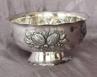 Vintage Prima NS (Nickel Silver) NilsJohan Swedish Silver Plated Bowl ~ Sweden ~ Fruit Bowl ~ Compote~ Pedestal Base ~ Mid-Century Modern