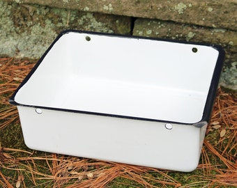 "Vintage Enamelware Pan/Box/Drawer - 11.5"" X 9.25"" X 3.75"" high - White with Black Trim ~ Refrigerator Drawer"