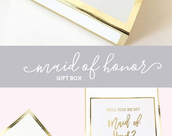 Maid of Honor Proposal Box Will You Be My Maid of Honor Box Maid of Honor Proposal Gift Will You Be My Maid of Honor Gift Box (EB3171BPW)