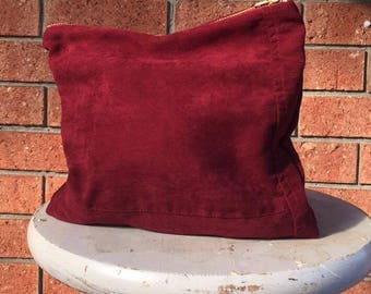 UPCYCLED FAUX Suede ORGANIC Cotton Burgundy Handmade Zipper Purse Pouch