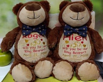 "CHOCOLATE two tone ring-BEARer furry 12"" embroidered plush plushie stuffed animal stuffie. Christmas. Baby, birthday, shower, flower girl,"