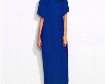 Women Maxi Long Dress Tunic Kaftan Short Sleeves