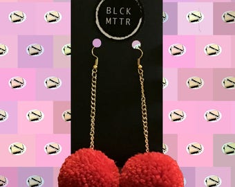 Red Pom Gold Chain Earrings