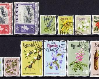 13 UGANDA and Kenya Uganda & Tanganyka postage stamps from 1938, 1962 and 1969