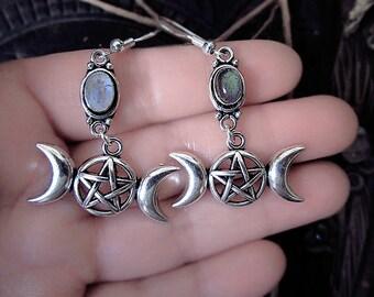 Triple Moon Earrings, Pentagram Earrings, Moon Earrings, Labradorite Earrings, Rainbow Moonstone Earrings, Wicca