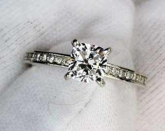 Cushion Cut Diamond Engagement Ring, GIA Certified VS1 F Exceptional Cut Diamond, Cushion Diamond Ring, Platinum Diamond Ring