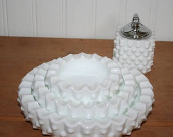 Fenton Milk Glass Hobnail Stacking Ashtrays, Set of 3,  and Lighter, excellent condition