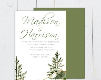 Mountains and trees invitation, pine tree invitation, mountain wedding invitation, watercolor trees invitation, evergreen tree invitation