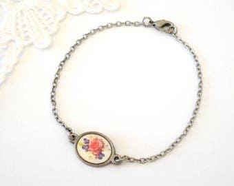 Dainty Vintage Roses Bracelet, Antiqued Silver Bracelet, Feminine Jewelry, Feminine Jewelry, Gift for Her