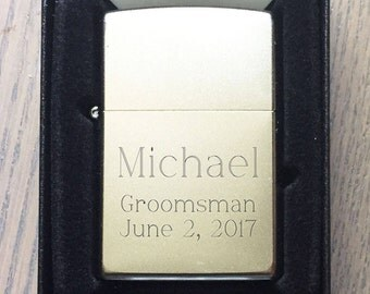 Personalized Zippo Lighter, Classic Satin Chrome, Engraved Zippo, Groomsmen Gifts, Birthday Gift, Father's Day Gift, Anniversary Gift  -Z205