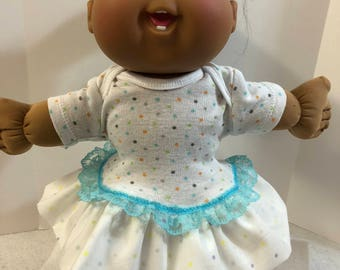 """Cabbage Patch 14 inch BABY -Smaller 14 inch CPKKids Doll Clothes, Colorful """"POLKA DOTS"""" Ruffle & Lace Trim Dress, Cabbage Patch Doll Clothes"""