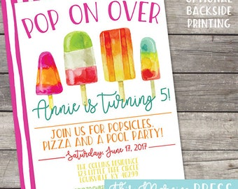 Pop on Over Popsicle Summer Birthday Party Customizable Invitation