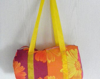 bowling fabric floral shoulder bag
