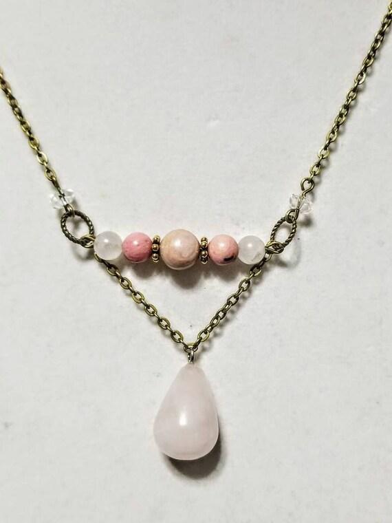 Meditation Stone Necklace: The Healer. Rhodonite, Rose Quartz, White Quartz