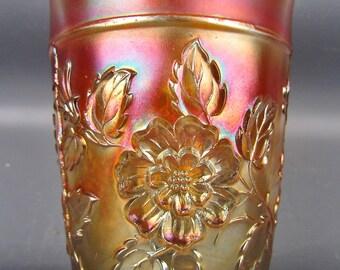 Carnival Glass - Dugan RAMBLER ROSE Marigold Tumbler