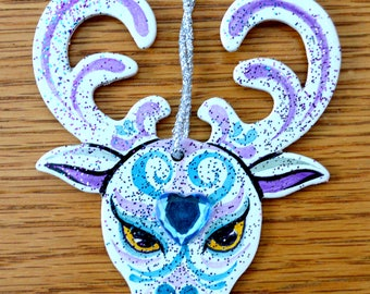 Christmas Reindeer Ornament - Hand Drawn and Painted - One of a Kind