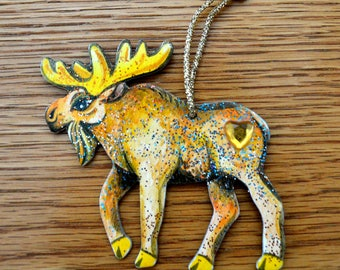 Christmas Moose Ornament - Hand Crafted and Painted