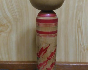 Large Kokeshi doll, Japanese traditional vintage wooden doll