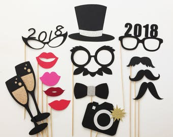 New Years Photo Booth Props Set of 15 New Years Eve Decorations New Years Photo Props New Years Eve Wedding New Years Eve Party
