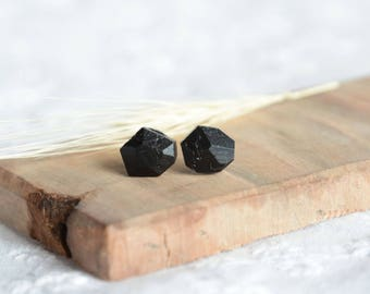 Raw black stud earrings made from a lump of coal, unique sterling silver coal jewelry black diamond ear studs, unique natural jewelry