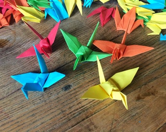 Paper Cranes 9cm X 500 Bright Colour Mix - Origami Birds - Folded Paper Birds Wedding Decoration - Baby Shower - Paper Decorations