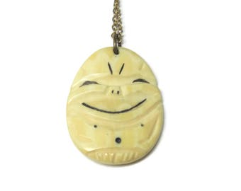 Vintage Chinese Import Carved Bone Happy Pendant