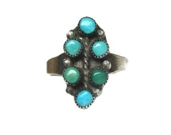 Vintage Zuni Snake Eye Turquoise Ring Size 6