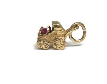 Vintage 14K July Ruby Baby Carriage Charm