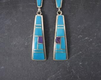 Long Vintage Navajo Turquoise Sugilite Earrings Betty Thomas Sanel
