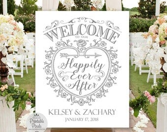 Welcome To Our Happily Ever After Printable Wedding Sign, Grey Lettering, Personalized with Names and Date (#WEL3A)