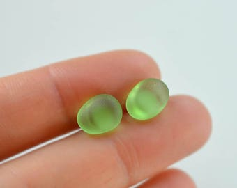 Small stud earrings green sea glass studs sea glass earrings seasglass earrings sea glass post earrings sea glass jewelry sterling silver