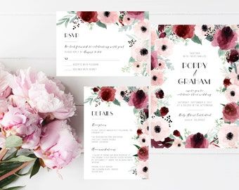 Printable Blush Marsala Wedding Invitation Suite, Anemone wedding invite, Fall winter wedding, Bohemian invite, floral burgundy invitation