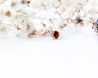 Garnet and moissanite gold twig engagement ring, twig nature moissanite ring, three stone ring, 14k rose gold engagement twig ring