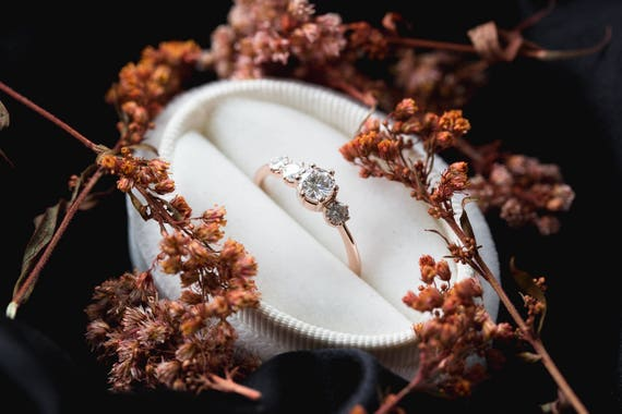 Cluster moissanite 14k gold engagement ring, moissanite engagement ring, unique rustic engagement ring, four stone ring, cluster engagement