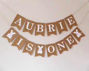 Personalised first birthday party bunting, rabbit bunny birthday decoration