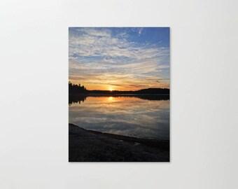 Nature Photography, Sunrise Landscape, Cloudy Reflection, Colorful Sun Print, Boundary Waters, Minnesota Canvas, Cloud Photo, Lake Picture