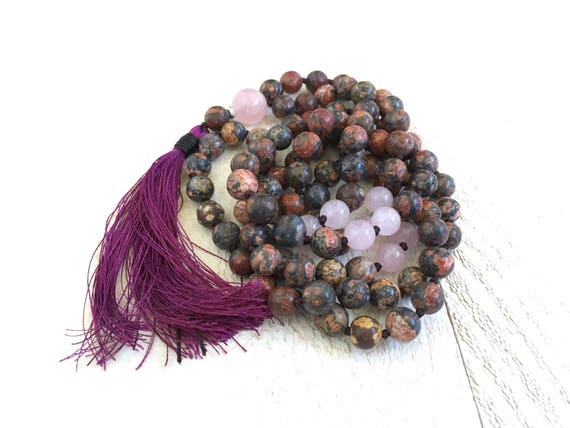 Mala Beads For Strength, Leopard Skin Jasper Mala Necklace, Rose Quartz Mala, 108 Bead Silk Tassel Mala, Yoga Meditation Beads