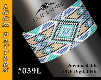 Loom bracelet pattern, loom pattern, square stitch pattern, pdf file, pdf pattern, cuff, #039L