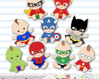 Digital Superhero Baby Boys Clipart, Superhero Baby Clip Art, Super Baby Clip Art, Little Boy Super Hero Clipart, Baby Shower Superhero 0229