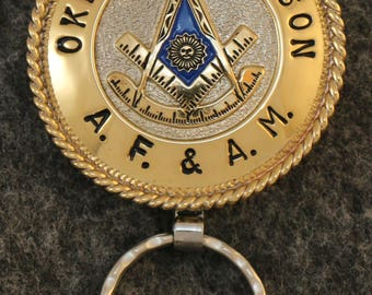 IN STOCK UNLESS Personalized Custom handcrafted Masonic key chain, Oklahoma, Past Master